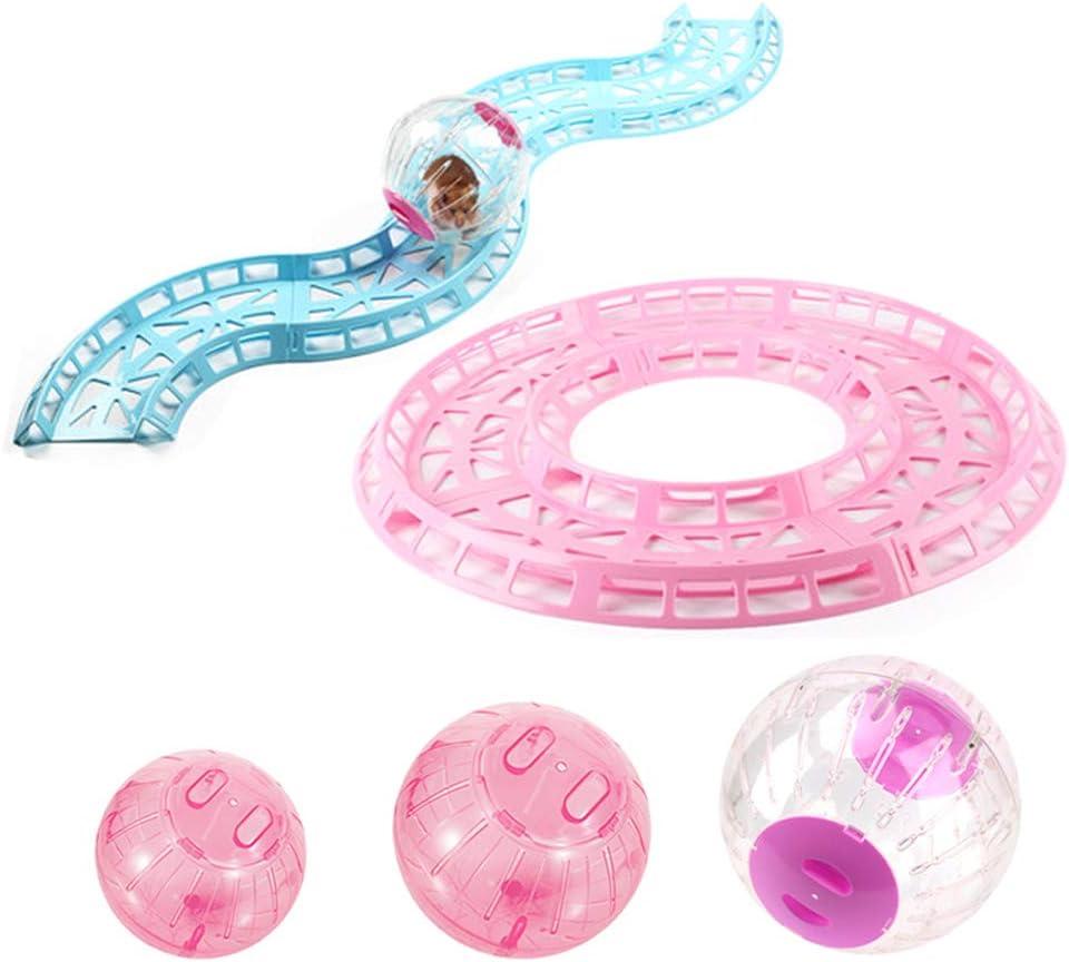 OTENGD 2PACK Hamster Ball Pista Ejercicio Correr Juguete Entrenamiento Pista Ejercicio Bucle para Ratón Chinchilla Rata Gerbo con 3 tamaños Diferentes Bolas Azul Rosa