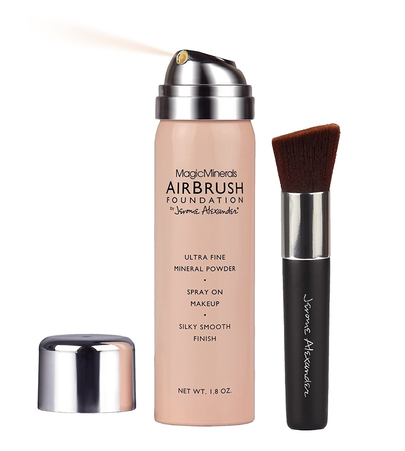 MagicMinerals AirBrush Foundation by Jerome Alexander 2-Piece Makeup Set - Mineral Foundation Spray and Kabuki Brush - Light Medium Shade by Jerome Alexander