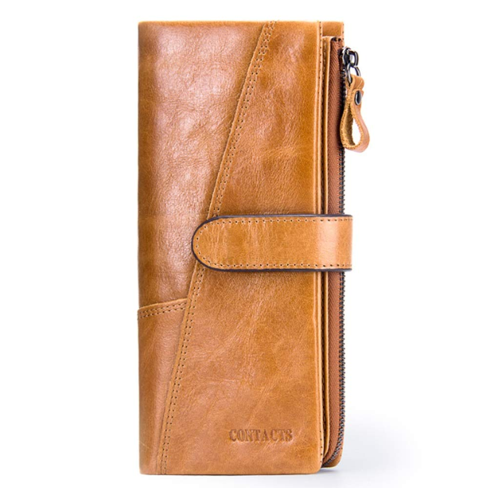 Color : Brass, Size : S JUNJIAGAO-Bags Mens Wallet Leather Fashion Stitching Long Wallet Retro Leather