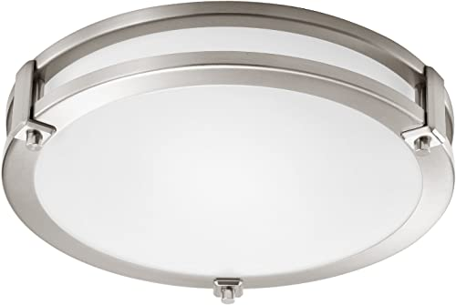 GetInLight LED Flush Mount Ceiling Light, 14-Inch, 20W 100W Equivalent , Brushed Nickel Finish, 3000K Soft White , Dimmable, Round, Dry Location Rated, ETL Listed, IN-0307-2-SN