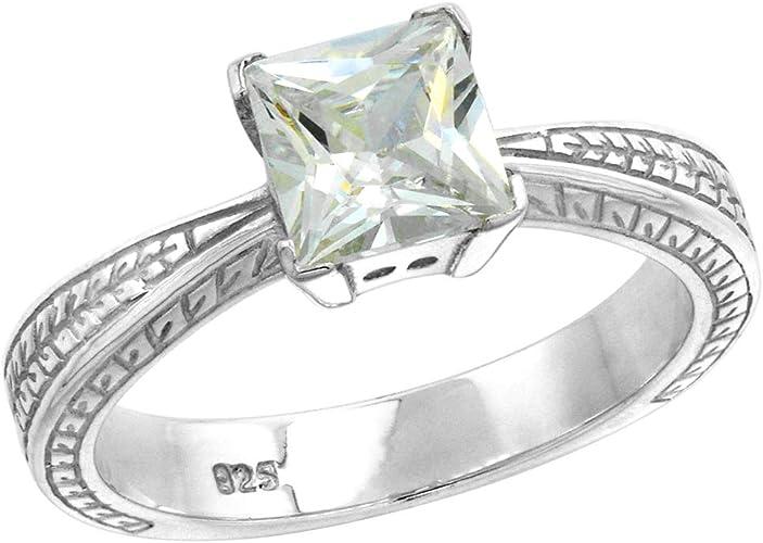 Women Sapphire Rings Princess Cut Citrine Amethyst Wedding Rings Size 6-10 Gifts
