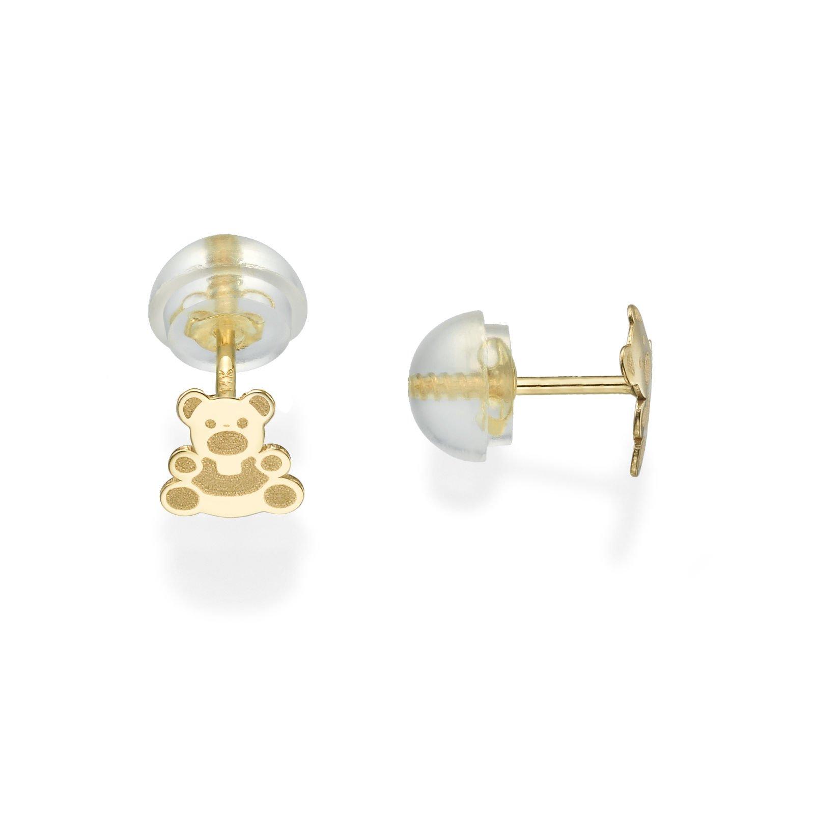 14K Fine Yellow Gold Enamel Bear Screw Back Stud Earrings for Girls Gift Children Kids