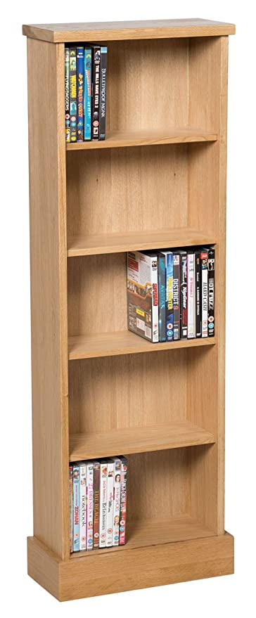 Waverly Oak DVD CD Storage Rack In Light Oak Finish 120 DVDs | Solid Wooden  Shelving