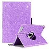 GUAGUA iPad 2 Case iPad 3 Case iPad 4 Case Glitter Sparkly 360 Degree Rotating Stand Full Body Rugged Cover Luxury PU Leather Stylus Holder Smart Auto Wake/Sleep Protective Case for iPad 2/3/4 Purple