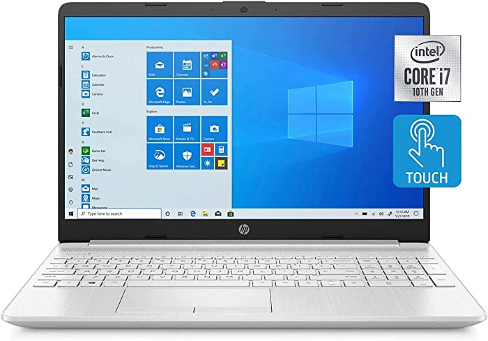 "HP 15.6"" HD Touchscreen WLED-Backlit Laptop, Intel Quad Core i7-1065G7 up to 3.9GHz, 8GB DDR4, 512GB PCIe NVMe SSD, WiFi, Bluetooth, HDMI, Webcam, Backlit Keyboard, Windows 10, ABYS Accessory Bundle"