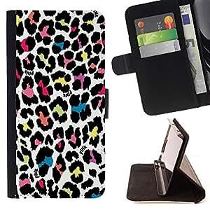 - Queen Pattern FOR Sony Xperia Z1 L39 /La identificaci????n del cr????dito ranuras para tarjetas tir????n de la caja Cartera de cuero cubie - leopard pattern colorful fur pattern
