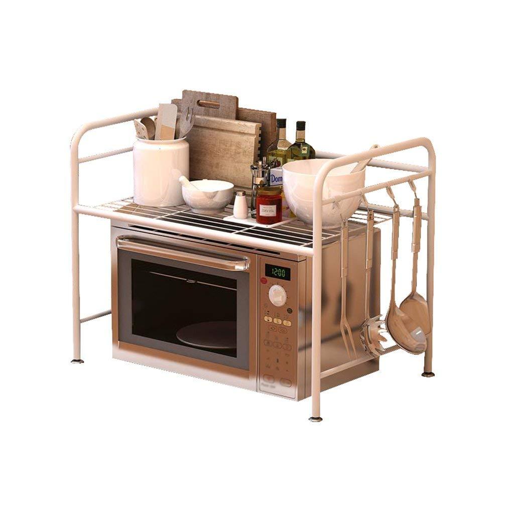 White Stainless Steel 2-Tier Kitchen Shelf Oven Rack Microwave with Hook Kitchen Supplies Spice Rack Storage Shelf Bathroom (Size:55cm,60cm) (Size : 55CM)