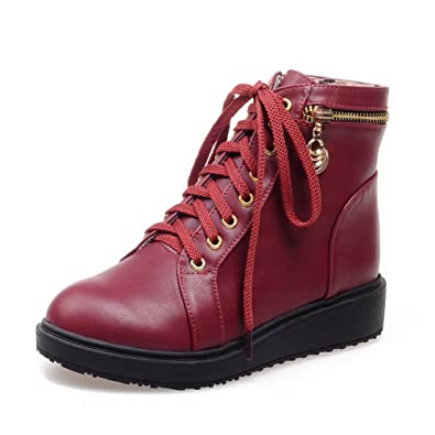 Women's Low Heels Solid Round Closed Toe Lace Up Boots
