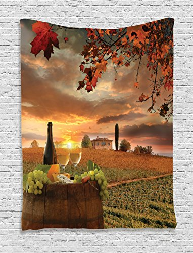 Ambesonne Winery Decor Collection, White Wine with Barrel on Vineyard at Sunset in Chianti Tuscany Italy Landscape Print, Bedroom Living Room Dorm Wall Hanging Tapestry, Orange Green