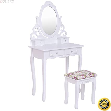Genial COLIBROX  White Vanity Wood Makeup Dressing Table Stool Set  W/Mirroru00264Drawersu0026Rose Cushion,
