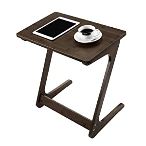 NNEWVANTE End Table Tv Tray Z-Shape Bamboo Sofa Table Night Stand Snack Table Side Table for Couch/Sofa Bed Eating Writing Reading Living Room Home Office Decor-Walnut