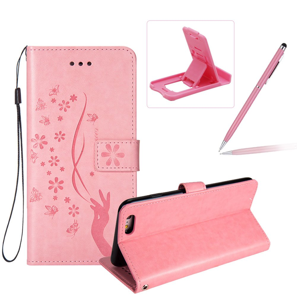 Wallet Leather Case for iPhone 6S,Strap Flip Leather Case for iPhone 6,Herzzer Stylish Elegant Pink Delicate Fingers Butterfly Flower Printed Magnetic Stand Cover with Card Cash Slot Soft TPU Inner Case iPhone 6/6S 4.7 inch