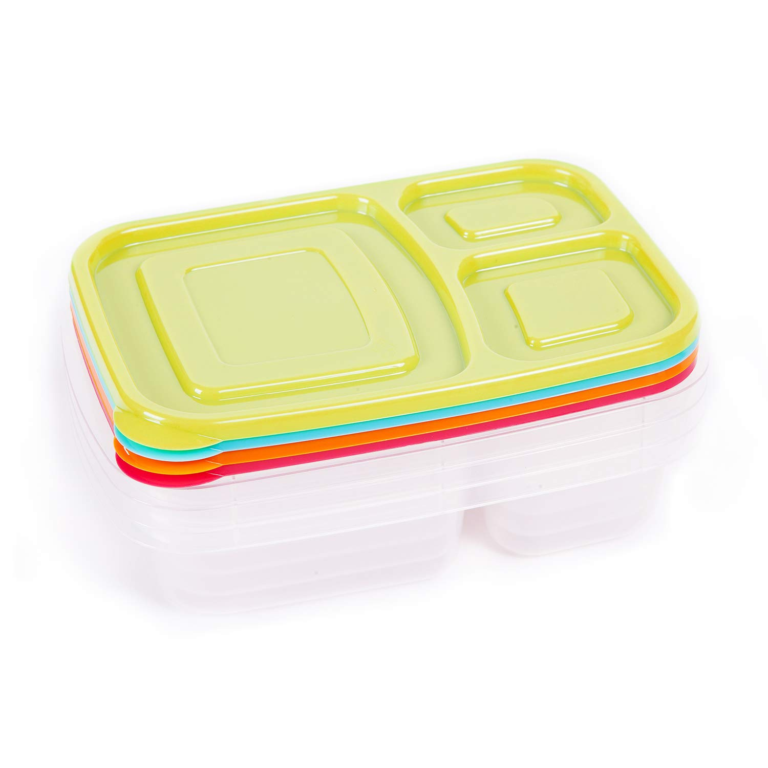 Bento Lunch Boxes 3-Compartment 4 Pack Meal Prep Containers with Lids Portion Control Reusable Food Storage Containers Set Microwave Dishwasher and Freezer Safe