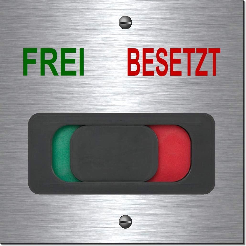 1910-52 -Frei-Besetzt mit L/öcher Frei-Besetzt-Frei-Belegt-Hinweisschild-Schild-mit Schieber-T/ürschild-B/üroschild-100 x 100 x 3 mm-Aluminium Edelstahloptik silber mattgeb/ürstet