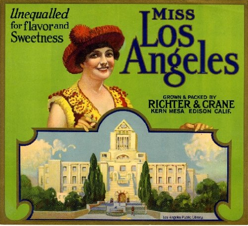 A SLICE IN TIME Edison Miss Los Angeles Orange Citrus Fruit Crate Box Label Art Print (Box Label Art)