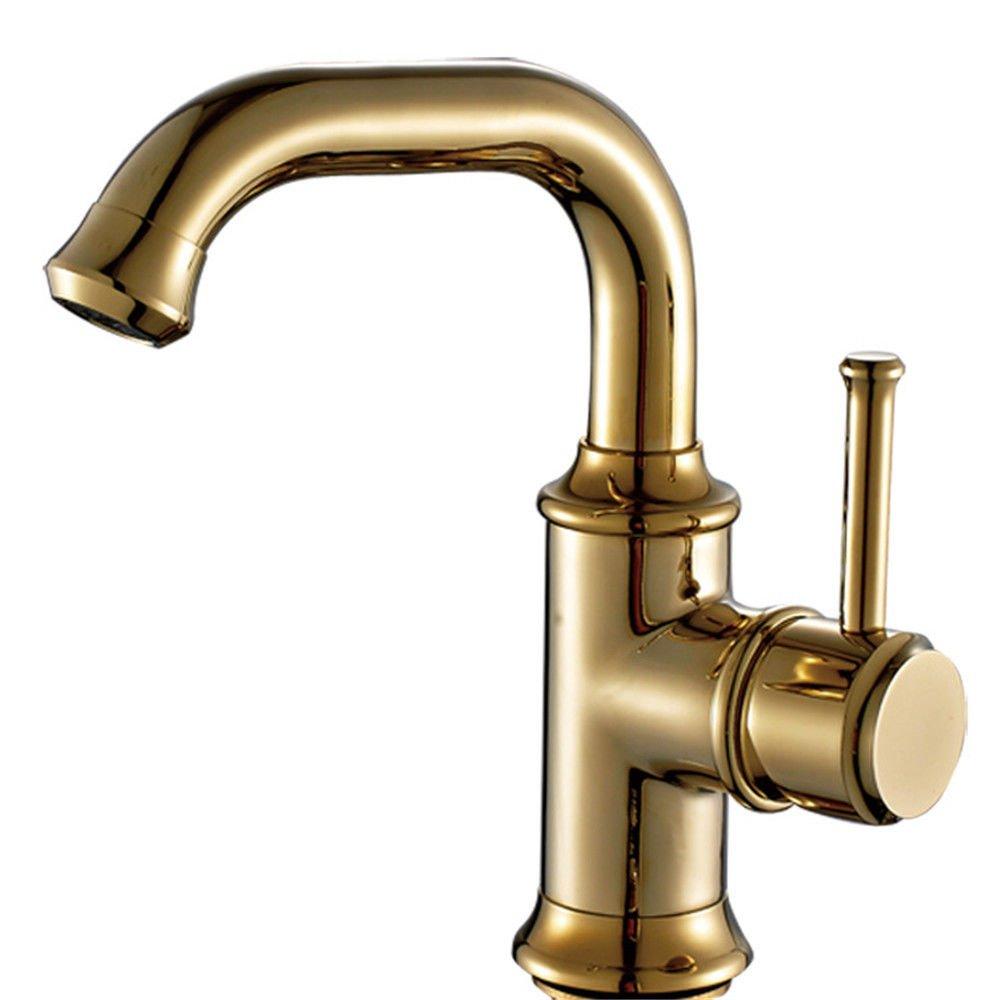 AQiMM Wasserhahn Wasserfall Armatur Waschtischarmaturen Kupfer Gold Das Kalte Wasser Antike Waschbeckenarmatur Für Badezimmer Waschbecken