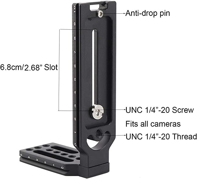Zhiyou Universal L Angle L Plate For Cameras With 1 4 20 Tripod Thread And Compatible With Arca Swiss