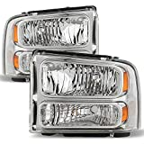 99 superduty headlights - 99-04 F-Series Superduty 00-04 Excursion Chrome Clear Headlights Front Lamps Replacement Pair