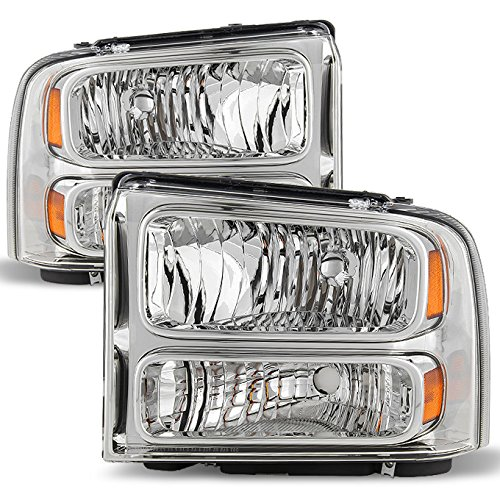 For 99-04 F-Series Superduty 00-04 Excursion Chrome Clear Headlights Front Lamps Replacement Pair