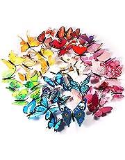 Foonii® 72 stuks 3D vlinders wanddecoratie stickers aftrekplaatjes, slagvaste kunststof vlinderdecoraties, wanddecoratie (12 blauw, 12 kleuren, 12 groen, 12 geel, 12 roze, 12 rood)