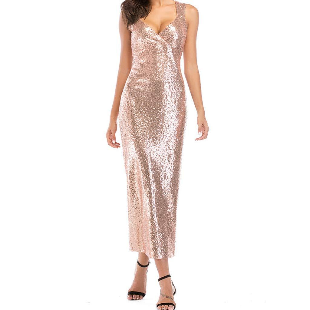 Reokoou Women's Long Sequins Open Sexy Dress Champagne