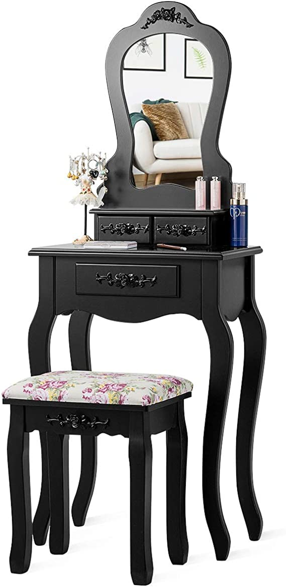 Giantex Vanity Set With 3 Drawers And Cushioned Stool Makeup Dressing Table For Bathroom Bedroom Small Space Vanity Table And Bench For Kids Girls Women Gifts Black Furniture Decor