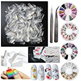 500pcs False Nail Tips Full Cover French Fake Nails, 4 Wheels Acrylic Nail Rhinestones, 4 Sheets Decoration Sticker Decal, 5pcs Nail Art Gradient Sponges, Manicure Tools for Teens Women Girls (Bi005A)