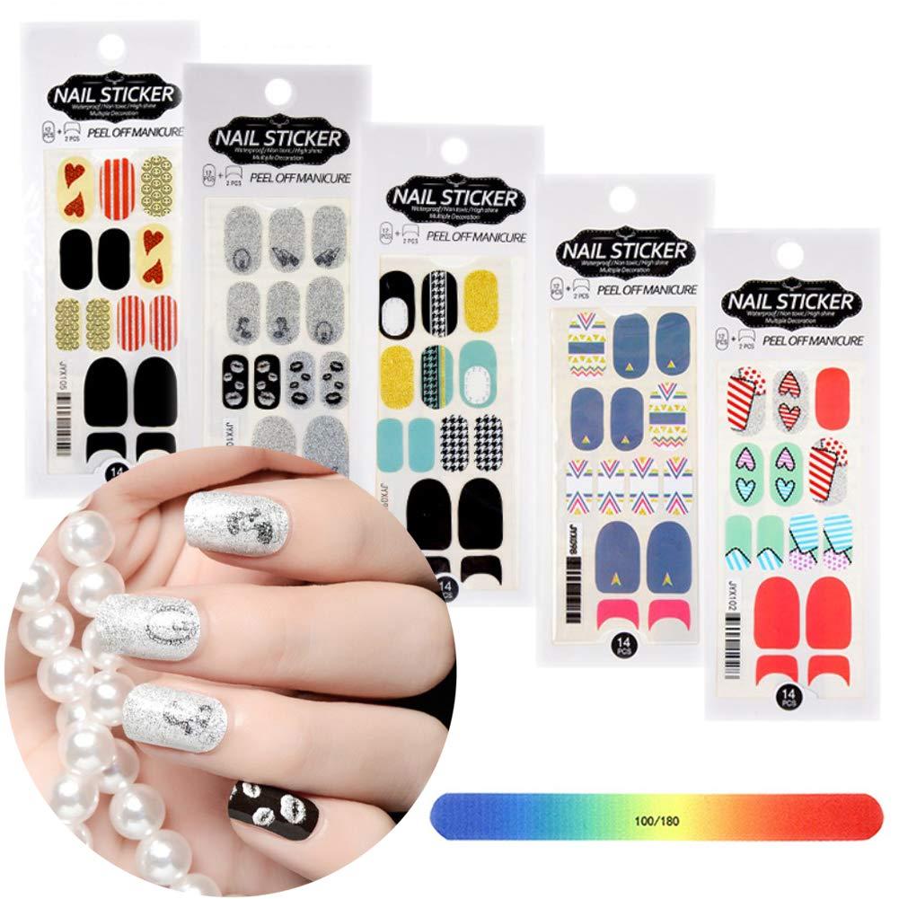 BornBeauty Glitter Nail Polish Strips Set Adhesive Nail Art Wraps for Women Fingers and Toes DIY Manicure Kits by BornBeauty