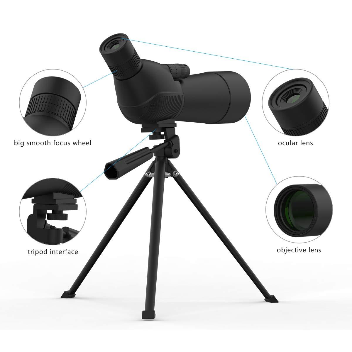 MIAO 15-45x60 Monocular Telescope, Compact Binoculars Single-Tube Zoom Telescope Binoculars with Smartphone Tripod and Mount Adapter for Target Shooting, Birdwatching, Wildlife Scenery