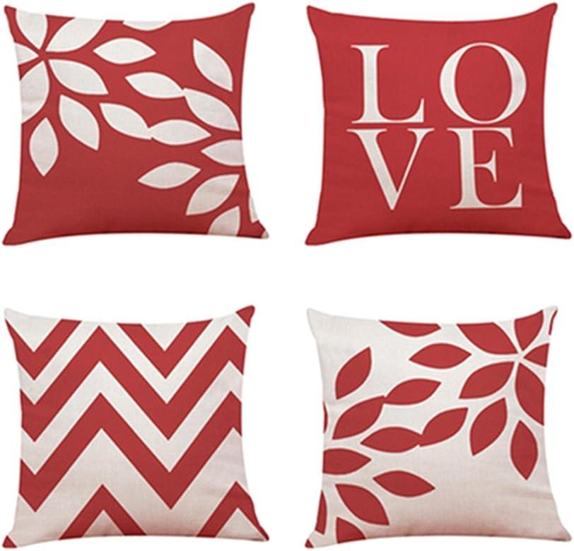 Fossrn 4PC Conjunto Fundas Cojines 45x45 LOVE Dia de san valentin, Geométricas Modernos Funda de Cojines para Sofa Jardin Cama Decorativo (03): Amazon.es: Ropa y accesorios