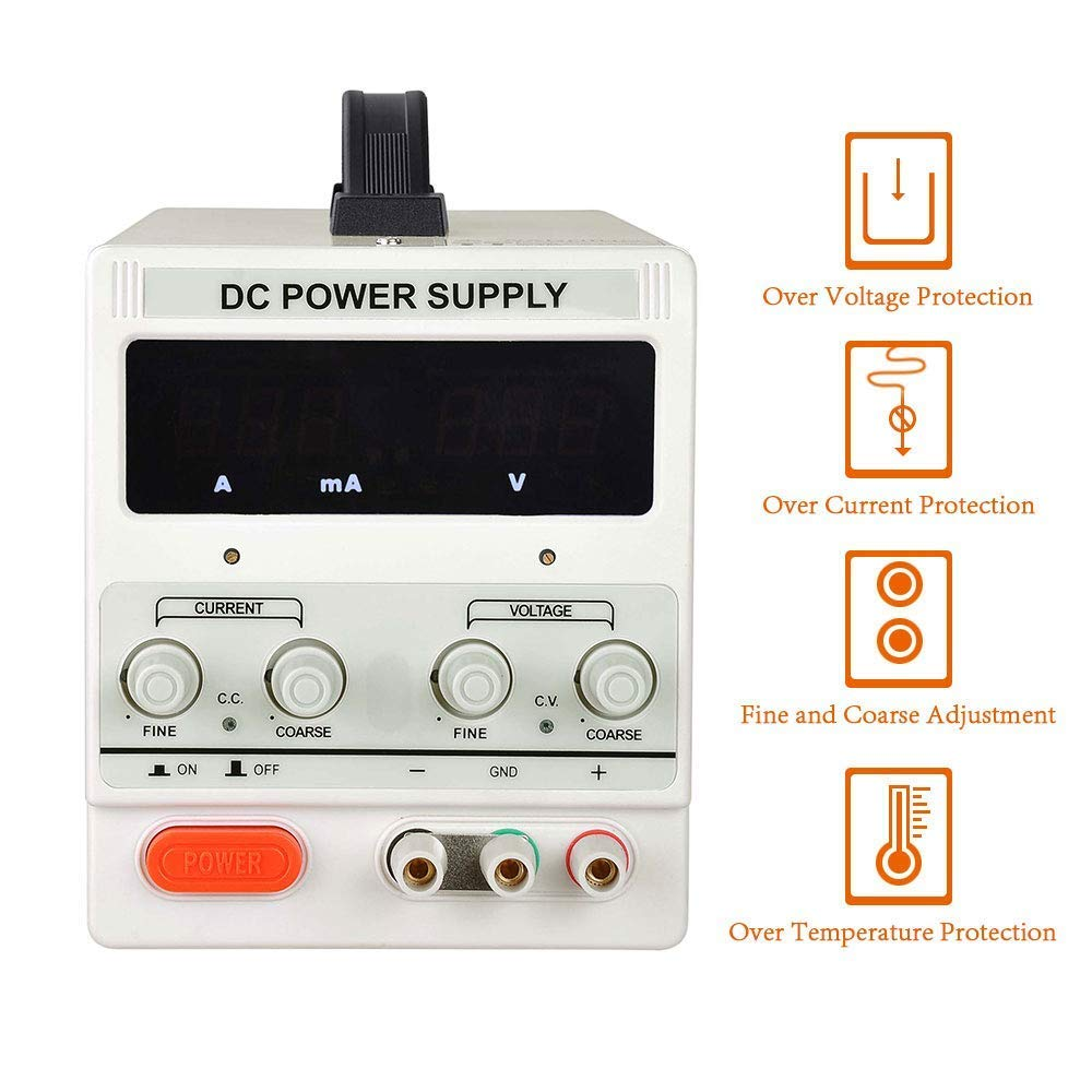 HaoFst MS305D 30V//5A DC Bench Power Supply Single-Output 110V with Alligator Clip Included