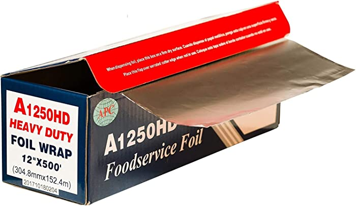 Heavy Duty Aluminum Foil, 12 Inches X 500 Feet, Commercial Industry Grade, Food Service, Wrap, Bulk Thick Super Heavy Duty Roll (1-Pack)