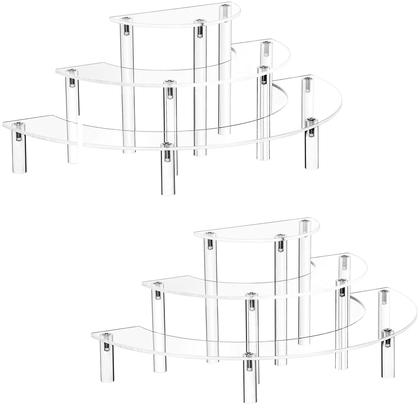 YestBuy 2 Pack Acrylic Risers Display Stand for Pop Figure, 3 Tier Clear Acrylic Cupcake Stand, Half Moon Dessert Stand for Display Or Collections (Acrylic Rods 2 Set)
