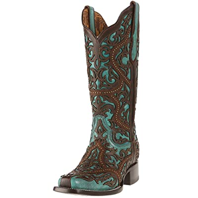 Corral Boot Company Womens Turquoise/Brown Laser Stud Boots   Shoes