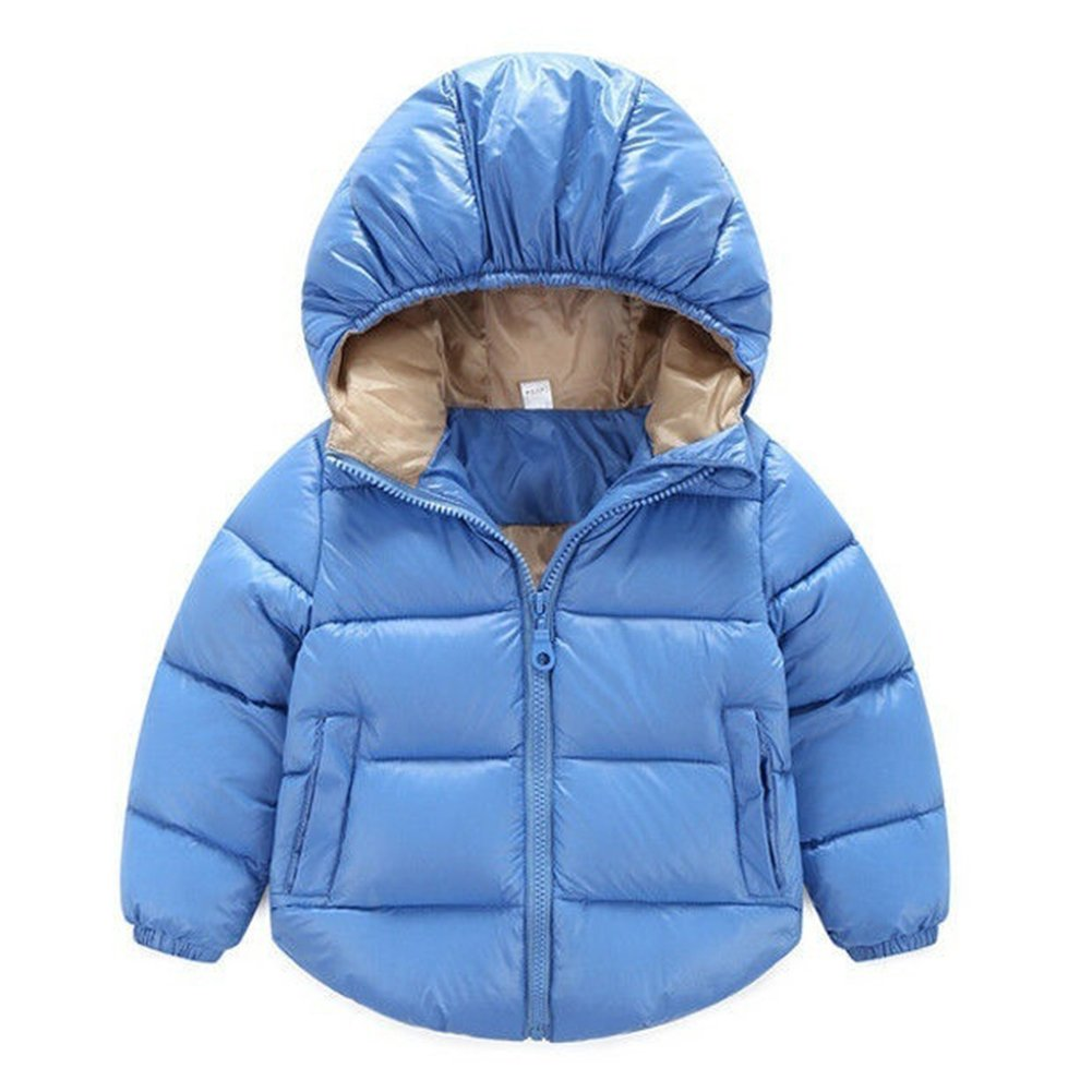 Gemini_mall Baby Padded Jacket Quilted Coat Boys Girls Kids 1-6 Year Hooded Winter Warm Outwear Clothes