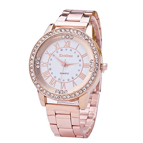 Toamen Moda mujer cristal de oro de acero inoxidable analógico cuarzo reloj de pulsera