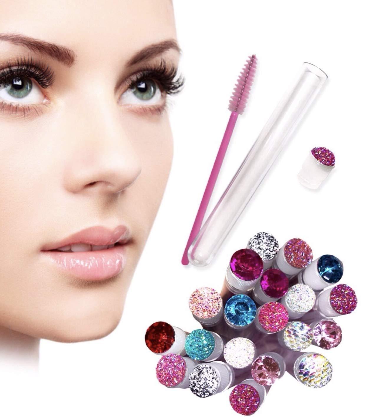 Eyelash brush - 100 pcs disposable eye lash wand and comb applicator in a tube - Make up tool for eyelash extension supplies