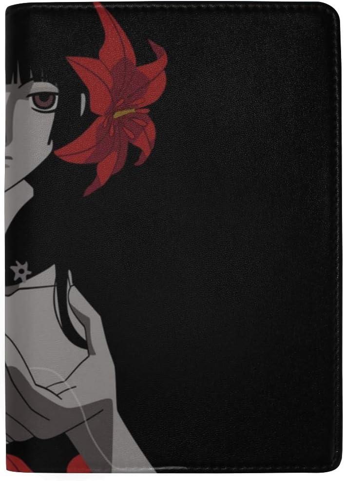 Girl Brunette Flower Look Darkness Leather Passport Holder Cover Case Travel One Pocket