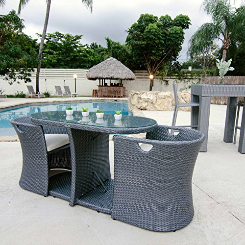 Inside Out by MIX Synthetic Wicker Rattan Clear Glass Grey Outdoor Dining Three Piece Set with Cream Cushions