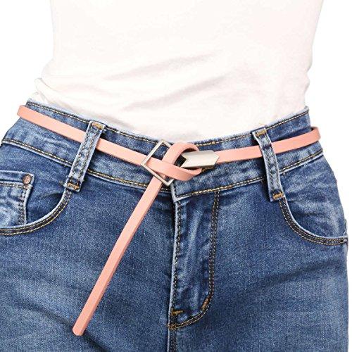 Damara Women's Rhombic Buckle Waistband Genuine Leather Thin Waist Belt Strap,Pink (Pink Leather Belt Strap)