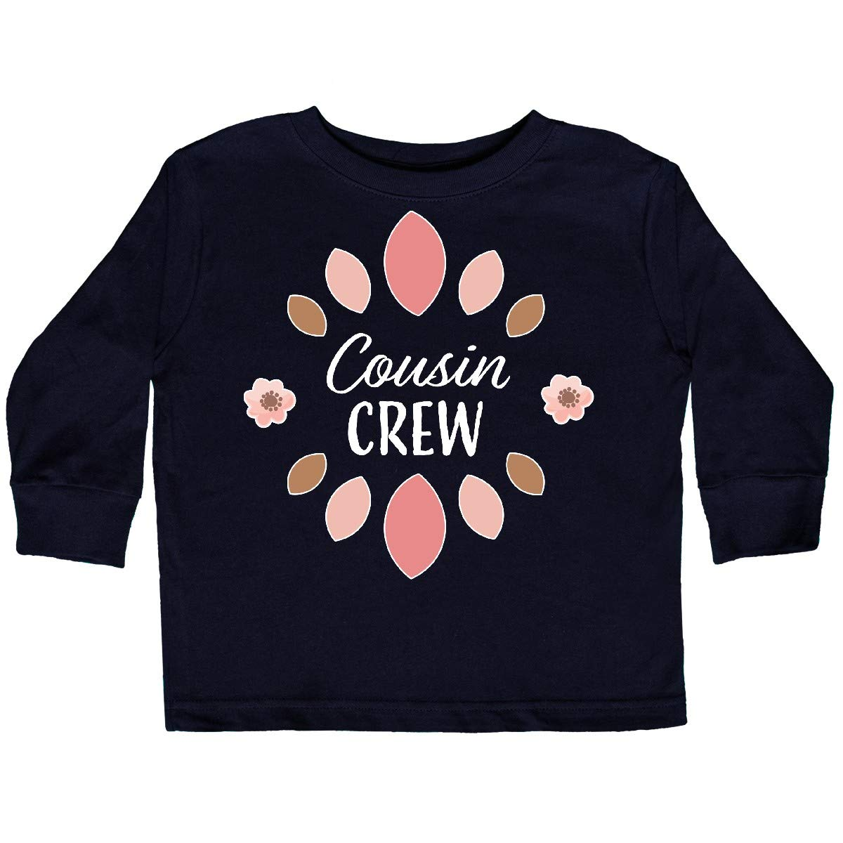 inktastic Cousin Crew with Pink Flowers Toddler Long Sleeve T-Shirt