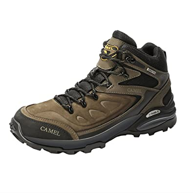 fdcd2693854 Camel Waterproof Hiking Shoes for Men Shockproof Non-Slip Leather Warm  High-top Outdoor