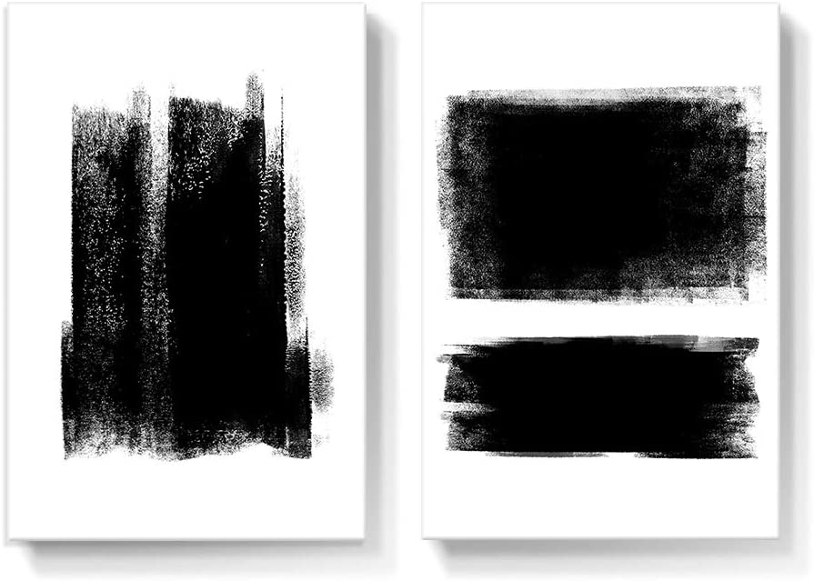 Amazon Com Gronda Black And White Canvas Wall Art Living Room Decor Minimalist Artwork Framed Abstract Paintings Simple Pictures Ready To Hang For Bathroom Bedroom Dining Room 16x24 Inch 2 Panels Posters