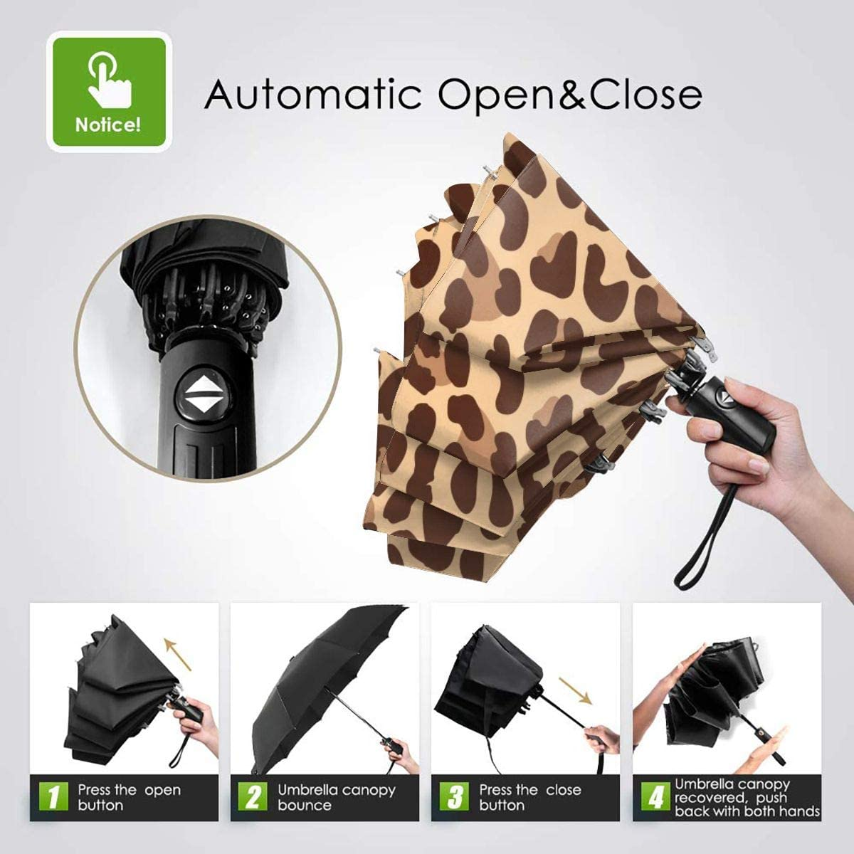 Cute Funny Snow Leopard Seamless Pattern Compact Travel Umbrella Windproof Reinforced Canopy 8 Ribs Umbrella Auto Open And Close Button Customized