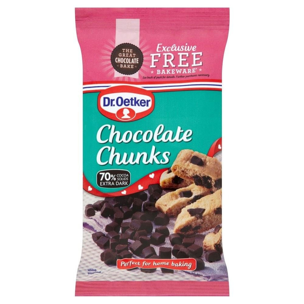 Dr. Oetker Extra Dark Chocolate Chunks (100g) - Pack of 2