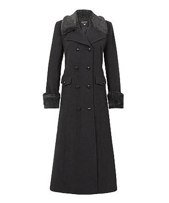 6d91699b94725 Anastasia - Gris Long Manteau en Cachemire de Laine d hiver pour Femme avec  col