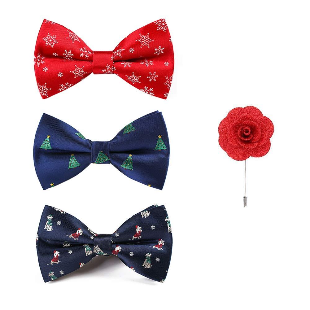 Handmade Christmas Xmas Bow Tie Sets Flower Brooch 3+1 PCS May Lucky