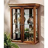 Design Toscano Country Tuscan Glass Wall Mounted Storage Curio Cabinet, 26 Inch, Hardwood, Walnut Finish