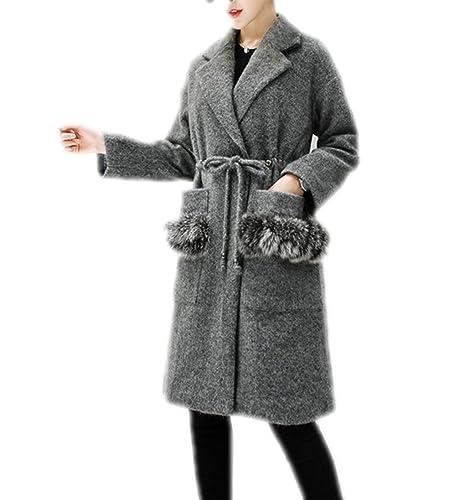 Capa Larga De La Moda Del Invierno De Las Mujeres Abrigo Grueso Más Grueso