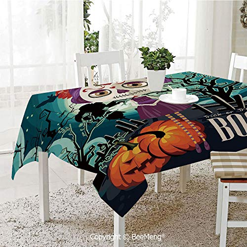 BeeMeng Spring and Easter Dinner Tablecloth,Kitchen Table Decoration,Halloween,Cartoon Girl with Sugar Skull Makeup Retro Seasonal Artwork Swirled Trees Boo Decorative,Multicolor,59 x 83 inches ()